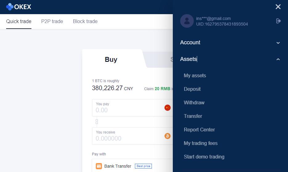 okex buying crypto