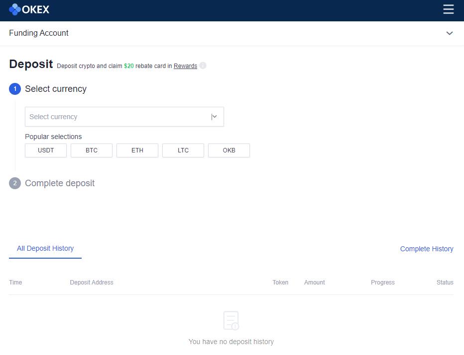 deposit screen okex
