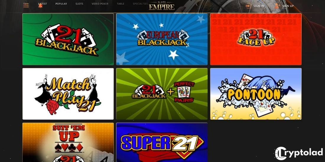 slots empire blackjack games