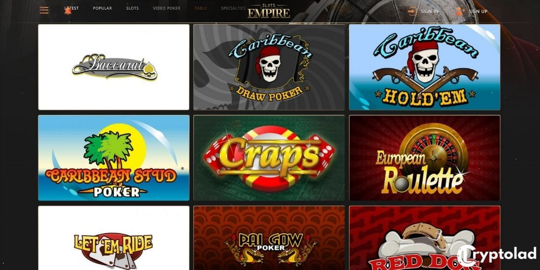 Slots Empire Table games