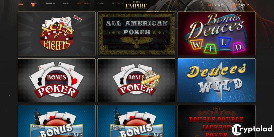 slots empire poker games