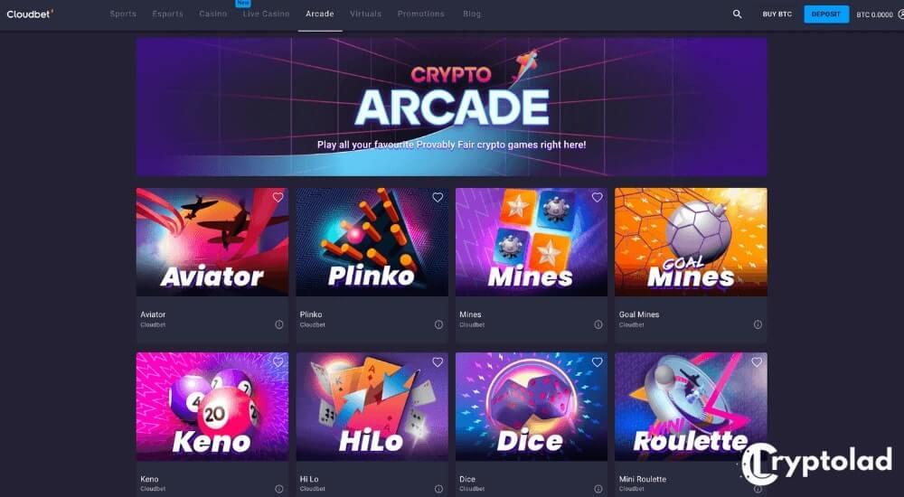 cloudbet arcade games