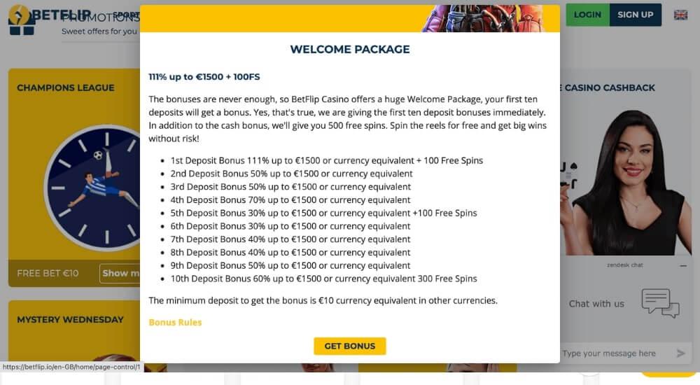 betflip deposit bonuses